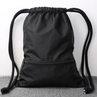 束口袋抽绳双肩包男女通用户外旅行背包轻便折叠运动健身包袋 黑色(大号)