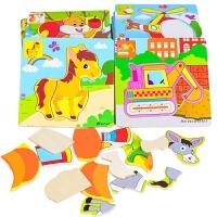 益智�玩具1-3�q�和�拼�D1-2-3-4�q9片20片木� 制拼�D��套早教������和婢����益智玩具
