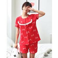 黛梦思 夏季短袖结婚纯棉女士大红睡衣新婚时尚家居服全棉长裤套装
