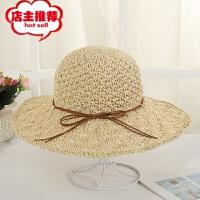 夏季海边太阳帽百搭贝壳沿手工帽户外度假渔夫帽大檐遮阳草帽批发