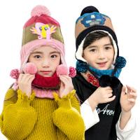 儿童帽子围巾套装男女童一体宝宝帽子秋冬保暖围脖套装加绒潮