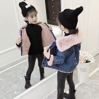 儿童加绒外套秋冬季2018新款韩版加厚牛仔棉服童装女