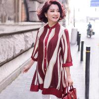中年女秋装新款中长款雪纺上衣服妈妈夏装洋气中老年宽松大码短袖 红色