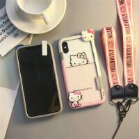iphoneX�化膜卡通7p手�C�ざ呃�A�籼O果8plus玻璃6s全屏彩膜可�� iPhone X粉白KT