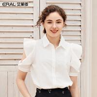 艾莱依2019夏新款时尚设计感中长袖衬衫别致镂空袖上衣601824019