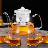 电加热陶瓷煮茶炉蒸汽煮茶器功夫茶具玻璃茶壶烧水壶泡茶专用套装 丰陶蒸茶壶+4杯