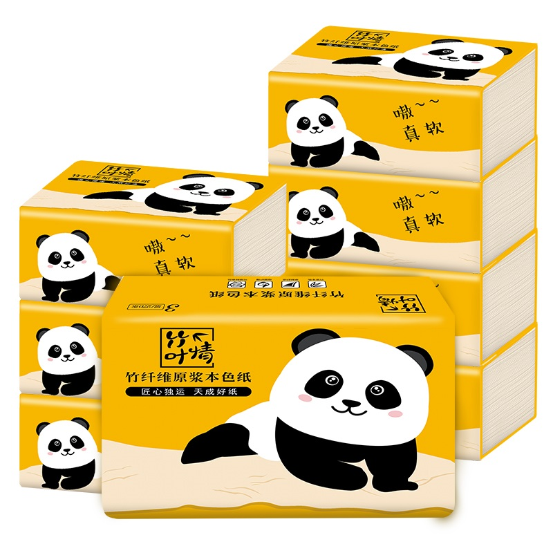 蓝漂 纯竹工坊 竹浆本色抽纸 300张*6包袋装原生竹浆制造 不染色 不漂白 母婴可用