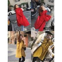RANJU 然聚2018女装秋季新品新款连帽风衣秋季时尚外套显瘦宽松廓形BF中长款上衣女