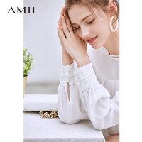 【到手价:156元】Amii极简法式优雅女神雪纺衫女2019夏季新珍珠扣蕾丝花边长袖上衣