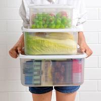 三件套装大容量塑料冰箱密封盒日本透明保鲜盒家用食品冷冻收纳盒 超值三件套【大中小号各一个】