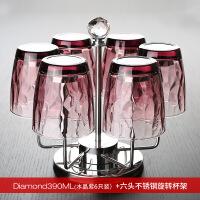 家用玻璃杯套装欧式客厅水杯加厚泡茶杯果汁牛奶网红杯具6只杯架