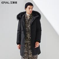 艾莱依2019冬季大毛领加厚男士羽绒服中长款大衣601841011