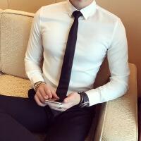 高档黑衬衫男长袖修身韩版潮流帅气商务休闲衬衣加绒加厚保暖寸衫