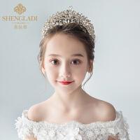 儿童皇冠头饰公主王冠水晶大发箍金色女孩生日发饰