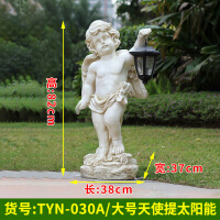 户外玻璃钢雕塑仿真天使小孩太阳能灯花园摆件幼儿园林景观装饰品
