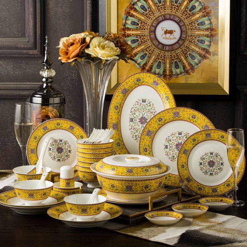 碗碟套装家用景德镇欧式骨瓷碗筷陶瓷器吃饭套碗盘子中式组合餐具  欢迎光临!本店为企业店铺,请放心购买。