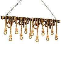 麻绳吊灯麻绳吊灯设计师咖啡创意个性酒吧台理发服装店复古灯工业风吊灯