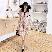 时尚品牌胖大码连衣裙韩版2019新款夏季女装V领很仙的法国小众桔梗裙短袖SN4474 图片色
