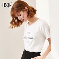 【2.5折到手价:83】欧莎经典白色t恤女长袖字母印花短袖2020年新款春季时尚上衣夏装