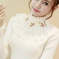 秋冬韩版加厚短款针织衫蕾丝花边修身甜美花朵高领打底毛衣女 均码