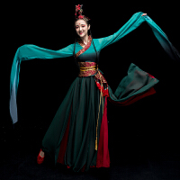 新款水袖舞蹈服装女飘逸古典舞演出服中国风古装汉服惊鸿成人