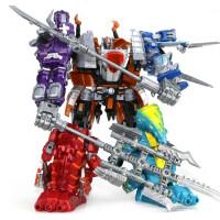 星空救援队 儿童变形玩具金刚机器人恐龙合体霸王龙修罗王星空救援队模型男孩 五合体套装(送儿童手表)