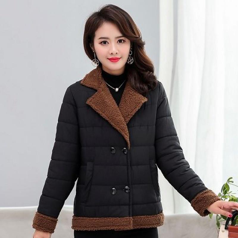 冬装棉衣女加绒保暖外套年轻妈妈装西装领中年妇女装棉袄