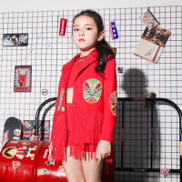 儿童演出服新款女童学生小主持人礼服中国风少儿模特走秀表演服装 红色
