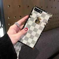 iPhone7 plus手机壳苹果X挂绳套奢华网红情侣男女款欧美潮牌6S/8P i7/i8-4.7 米白格纹