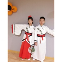 六一儿童演出服汉服男童古装三字经国学书童女幼儿园小孩表演服装 经典白 女款
