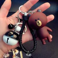 钥匙扣 卡通钥匙扣女男创意汽车钥匙链圈环可爱情侣书包挂件公仔 黑绿色 站熊黑绳黑白铃铛