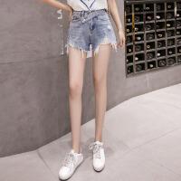 牛仔短裤女夏新款显瘦韩版高腰宽松不规则破洞毛边外穿热裤潮