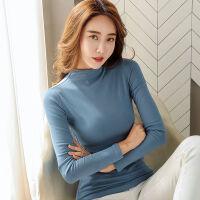 半高领加绒加厚女士打底衫秋冬装韩版修身百搭长袖T恤女上衣