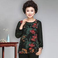 妈妈春装短款T恤中年女冬装小衫洋气打底衫中老年女春秋长袖上衣 绿花色 XL 建议90-100斤
