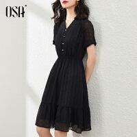 OSA黑色雪纺连衣裙女夏季2021新款中长款气质收腰v领衬衫裙子显瘦