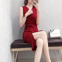 无袖连衣裙女2019夏季新款遮肚子时尚气质性感红色开叉V领包臀裙 XX