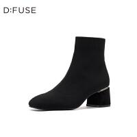 【3折叠加100元券】D:Fuse/迪芙斯2019冬季新款复古方头粗高跟织物短靴女DF94116906