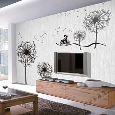 5d电视背景墙壁纸简约卧室客厅沙发影视墙布3d墙纸壁画蒲公英