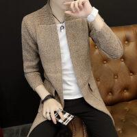 中长款针织开衫外穿修身韩版毛衣风衣潮流个性外套线衣男士秋冬装