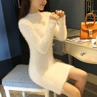 半高领毛衣女秋冬装韩版中长款套头宽松学生长袖针织衫打底衫