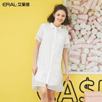 艾莱依2019夏季新款时尚小众设计衬衫连衣裙宽松中长裙601829026