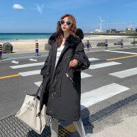韩国中长款女2019oversize宽松大码加厚棉袄外套冬 M 建议体重90-120斤左右