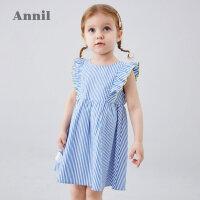 【2件3折价:89.7】安奈儿童装女小童连衣裙2020夏季新款洋气格子条纹宝宝无袖连衣裙