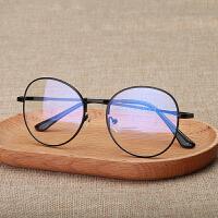 复古眼镜框男女无度数电脑手机护目镜平光圆框 黑色