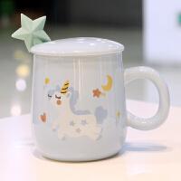 情人节礼物送女友可爱超萌独角兽马克杯带盖勺陶瓷杯子少女心水杯卡通咖啡杯情侣杯