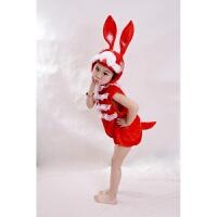 六一儿童节小白兔大灰狼动物表演服小兔子乖乖话剧舞蹈演出服装 红兔无袖款 90cm