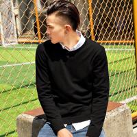秋季毛衣男韩版圆领纯色针织衫男装宽松毛衫薄款套头线衣