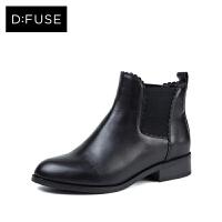 【3折叠加60元券】D:Fuse/迪芙斯冬牛皮圆头花边粗跟切尔西短靴DF74116208