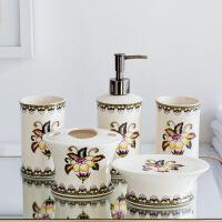 欧式浴室洗漱用品套装 裂纹贴花陶瓷摆件5件 多款