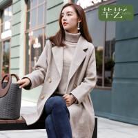 芊艺毛呢外套女中长款2018冬新款韩版宽松流行加厚翻领茧型呢子大衣